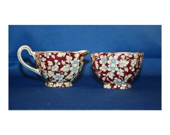 Vintage Open Sugar Bowl and Creamer Lord Nelson Ware Royal Brocade Chintz Square circa 1960's English Tea Coffee