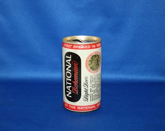 Vintage Carling NATIONAL Bohemian Light Beer Can Steel Pull Tab Bar Memorabilia Barware Collectible Memorabilia Advertisement Empty