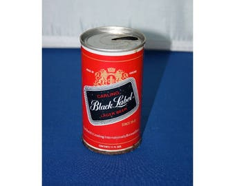 Vintage Carling Black Label Lager Steel Beer Can Pull Tab opened empty Bar Memorabilia Barware Collectible Breweriana Advertisement Ephemera