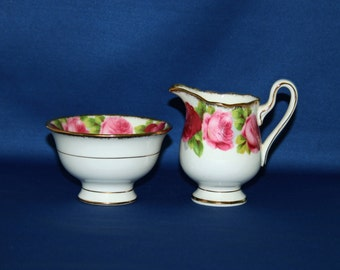 Vintage Royal Albert Old English Rose Open Sugar Bowl and Creamer Set c.1940 Coffee & English Tea Garden Tea Party