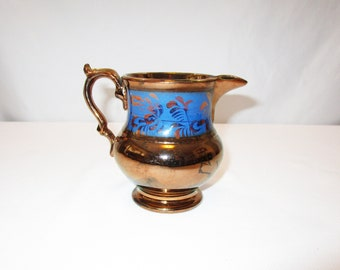 Antique Copper Luster Pitcher Blue Band Floral Luster Creamer milk cream syrup Victorian Housewares circa 1820 – 1900 Farmhouse Vintage