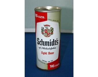 Vintage Schmidt's Light Beer Steel Can One Pint Pull Tab Opened & Empty Schmidt Bar Memorabilia Barware Collectible Breweriana Advertisement