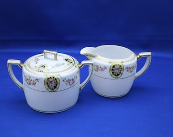 Antique Nippon Creamer & Sugar Bowl Morimura Brothers Noritake White with Pink Roses Yellow Bands Gold Gilding Japan coffee tea Oriental