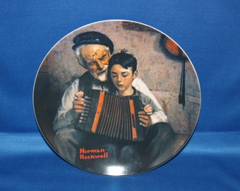 Vintage Edwin M Knowles Norman Rockwell Heritage Collectors Plate - The Music Maker 1981 Cabinet Plate Collector Plate