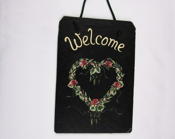 Vintage Natural Slate Art Welcome Sign - Hand Painted Rose Heart Wreath Painting Artist Signed Stone Artwork Wall Art Home Decor