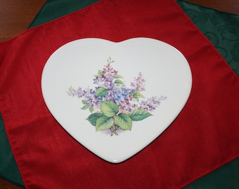Vintage Heart Platter / Plate Design Sarajane's Ceramics Williamsburg VA  with Floral Transferware Handmade Ceramic Pottery