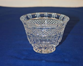 Vintage Fluted Crystal Dessert Dish Candy Bowl Nut Bowl Fruit Bowl Candle Holder