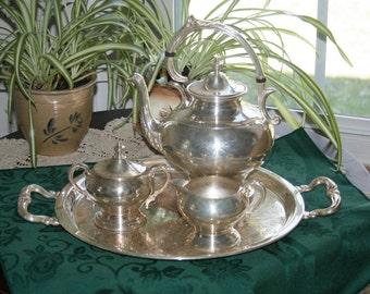 Vintage Sheridan Silver Co. Silverplate Tea Set 1945 Silver on Copper Butlers Tray Creamer Lidded Sugar & Teapot Metalware Tea Pot Coffee