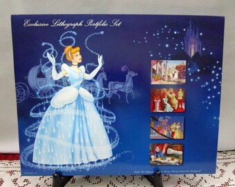 Vintage Disney Cinderella II Commemorative Lithograph, Set of 4, Disney Store Exclusive Fairy Godmother Prince Charming Gus Jaq