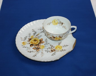 Vintage Yellow Rose and Gold Teacup and Saucer Tea Cup & Scallop shaped Plate luncheon snack set Japan Japanese Garden tea party Wedding