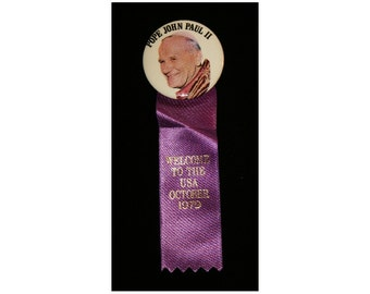 Vintage Catholic Pope John Paul II Welcome to the USA Pinback Button and Purple Ribbon Pin Religious Collectible Memorabilia Ephemera
