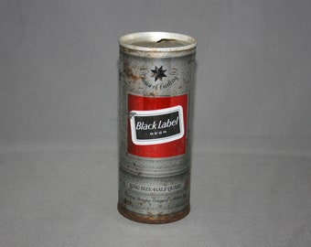 Vintage Black Label Steel Can Pull Tab King Size Half Quart Opened & Empty Collectible Bar Memorabilia Barware Advertisement Breweriana