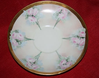 Antique Rose Plate with Gold Gilding William Guérin Limoges France 1900's Hand Painted Cabinet Plate Luncheon Plate Salad Plate Dessert