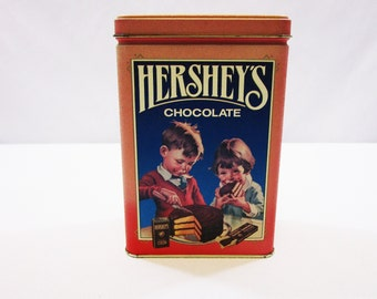 Vintage Hershey's Chocolate Tin 1991 Advertising Reproduction of 1960's Hershey Farmhouse Decor Shabby Chic Storage Tin Box