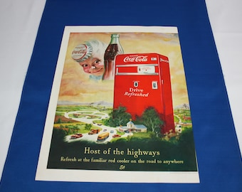 Coca Cola 1950 Magazine Advertisement Host of the Highway with Sprite Boy, a Coke and Red Dispensing Machine  Coke ad Ephemera Memorabilia