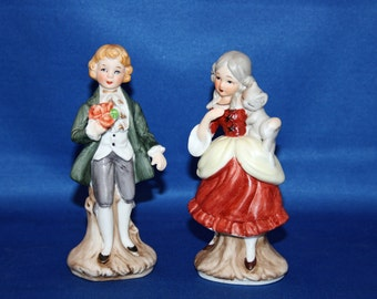 Vintage Courting Colonial Couple Figurines Made in Japan Hand Painted Bisque boy with bouquet, girl with kitten figurine Knick Knack Figure