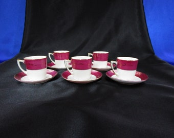 Antique Lusterware Teacup and Saucer Demitasse Tea Cup Made in Japan Set of 5 Hand Painted in Maroon & Gold Japanese Vintage 10 piece set