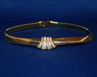 Vintage Napier Rhinestone Pendant Choker Necklace Embellished Gold Tone Cocoon Choker Jewelry Necklace
