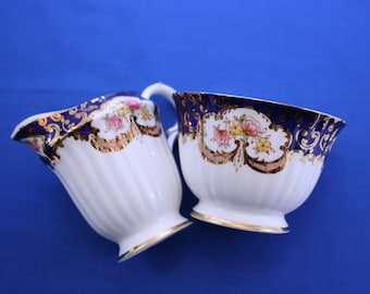 Vintage Royal Stafford Heritage Creamer and Sugar Bowl Bone China Made in England Tea Coffee Garden Party
