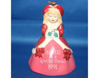 Vintage Bell Ornament Christmas Tree American Greetings for a Special Sister Ceramic Christmas Ornament Bell - Dated 1991 Holiday