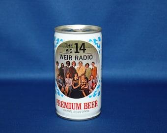 Vintage The Big 14 WEIR RADIO Premium Beer Can Pull Tab Steel Unopened Bar Memorabilia Barware Collectible Breweriana Advertisement Ephemera