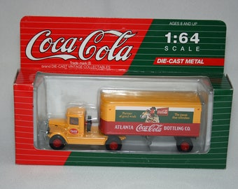 1993 Coca Cola 1/64 scale Yellow Mack Truck with Tractor Trailer Atlanta Bottling Co. Die Cast Metal by Hartoy, Inc.  C51101 Coca-Cola Coke