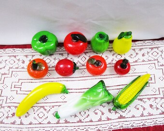 Vintage Art Glass Fruits and Vegetables – Hand Blown Murano Style Fruit and Vegetables Apple Corn Banana Bell Pepper Orange Pear Plum