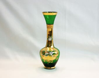 Vintage Lefton Emerald Green Bud Vase Gold Gilding Enamel Flowers Hand Blown Hand Painted Bohemian Czech Art Glass Flower Vase Moriage Japan