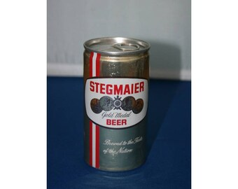 Vintage Stegmaier Gold Medal Beer Can Pull Tab Aluminum Unopened Empty Bar Memorabilia Barware Collectible Breweriana Advertisement