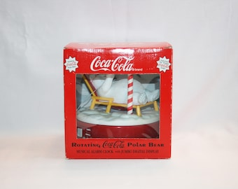 Coca Cola Rotating Polar Bear Musical Alarm Clock Coca-Cola Collectible Coke Memorabilia Ephemera Christmas North Pole
