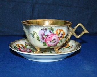 Vintage Teacup and Saucer with Pansy's Nippon Gold Gild Lusterware Yoko Boeki Company Made in Japan Tea Cup Japanese Tea