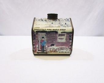 Vintage Log Cabin inspired Maple Syrup Tin by New England Container Co. 1984 Absolutely Pure Maple Syrup Container Farmhouse Homestead Decor