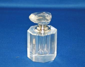 Vintage Oleg Cassini Perfume Bottle Signed 24% Lead Crystal Octagon Screw Stopper