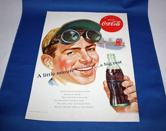 Vintage Coca Cola - 1952 Magazine Advertisement A little minute – a big rest Coke Ephemera Memorabilia Schlitz Beer