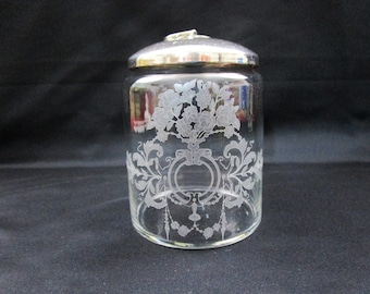 Vintage Shafford Etched Apothecary Glass Canister, Made in Portugal Jar