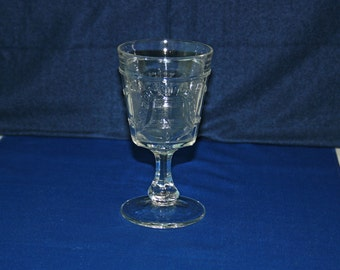 RARE Antique Adams Glass Company EAPG Water Goblet - Wine Glass Liberty Bell Pattern Circa 1876 Glass Centennial Commemorative Collectible