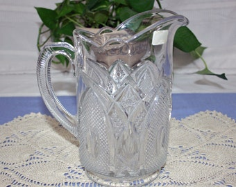 RARE Antique EAPG era Large Clear Glass Pitcher with Ribbed Handle made in New Hampshire USA water lemonade milk Table Pitcher Tableware