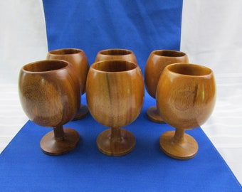 Vintage Teak Goblets Set of 6 Teak Wine Glasses Water Glass Carved Hand Turned Wood Cup Country Kitchen Rustic Design Farmhouse Décor