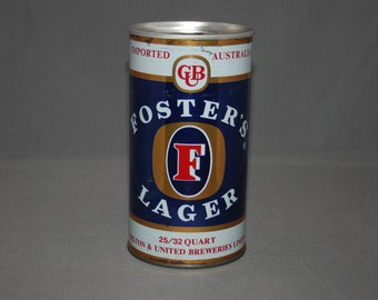 Vintage GB Foster's Lager 25/32 Quart Steel Can Pull Tab Opened & Empty Collectible Bar Memorabilia Barware Advertisement Breweriana