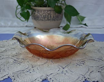 Vintage Marigold Glass Iris & Herringbone Ruffle Bowl Jeannette Glass Company Gold Iridescent Carnival Glass USA Serving Salad Dish