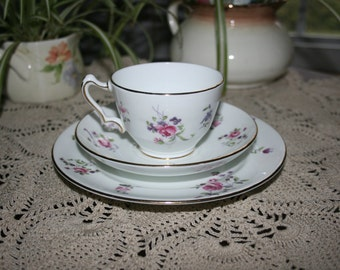Vintage Crown Staffordshire 3 Piece Luncheon Set teacup saucer and plate China F4295 circa 1930 Tea Cup English Tea Party