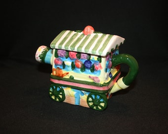 Vintage Porcelain Garden Cart Teapot Houston Foods Colorful Tea Pot English Garden Tea Party Knick Knack Collectible