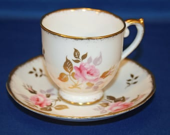 Vintage Roslyn China Hand Painted Rose Demitasse Espresso Teacup & Saucer made in England Tea Cup