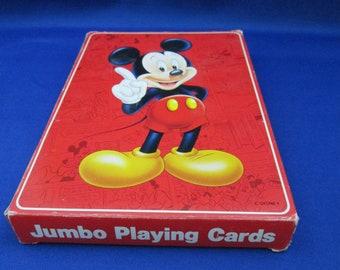 Vintage Disney Mickey Mouse Jumbo Playing Cards Advertisement Collectible Disneyland Souvenir Ephemera Walt Disney