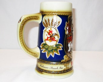Vintage Budweiser Beer Tankard Stein Clydesdale Handcrafted Limited Edition Horseshoe Beer Mug, Made in Brazil, Anheuser Bush Inc. 1987