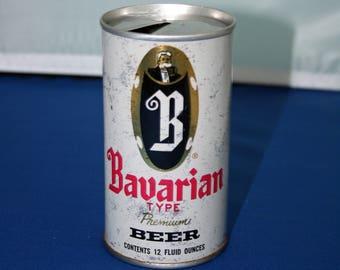 Vintage B Bavarian type Beer Can Steel Pull Tab Mt Carbon Brewing Co Bar Memorabilia Barware Collectible Breweriana Advertisement