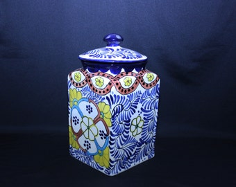 Vintage Talavera Mexican Earthenware Large Lidded Canister Signed Alba Mexico Clay Cookie Jar Folk Art Storage Jar
