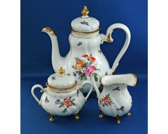 Antique Weimar China Coffee Pot Chocolate Pot Tea Pot Creamer and lidded Sugar Bowl circa 1924 Made in Germany Coffee Pot Set Vintage