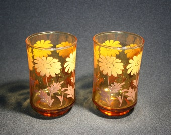 Vintage Libbey Glass Daisy Amber Orange Juice Glass set of 2 Breakfast Glasses Country Kitchen Homestead Farmhouse