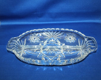 Vintage Relish Dish, Early American Prescut, Anchor Hocking, EAPC Star of David Pattern, circa 1960 Relish Tray Made in the USA